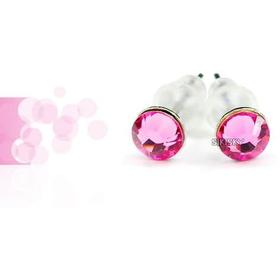 Серьги-гвоздики с розовыми камнями2