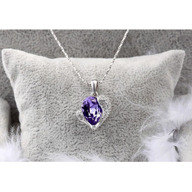 "Комплект ""Сердце Swarovski"", фиолет1"