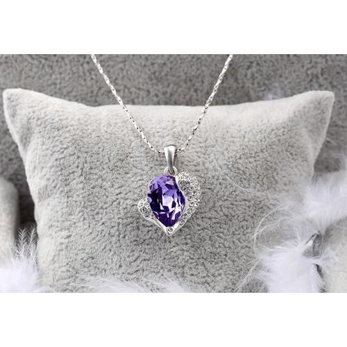 """Кулон """"Сердце Swarovski"""", фиолет"""