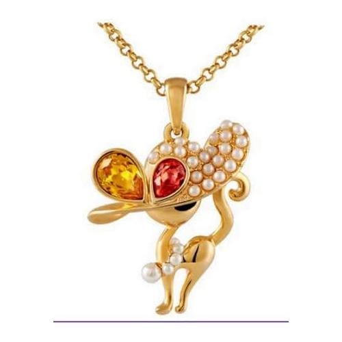 Модная кошка - кулон (gold)