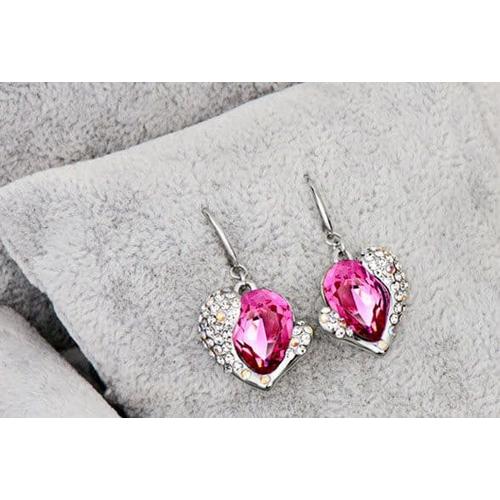 "Серьги ""Сердце Swarovski"", розовый"